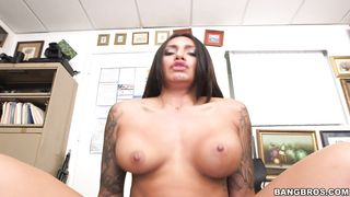 Sexy busty brunette latin Natalia Mendez rides the dick then get a facial