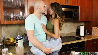 Passionate floosy Sophia Leone with great tits giving a mind blowing oral