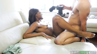 Sensual brunette ebony diva Yara Skye with firm tits gave a great blowjob to lover