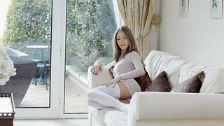 Check out this attractive blonde floosy Anjelica who jumps on his thick boner with joy